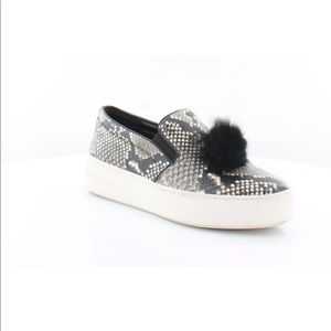Michael Kors Trent snake print slip on rabbit fur
